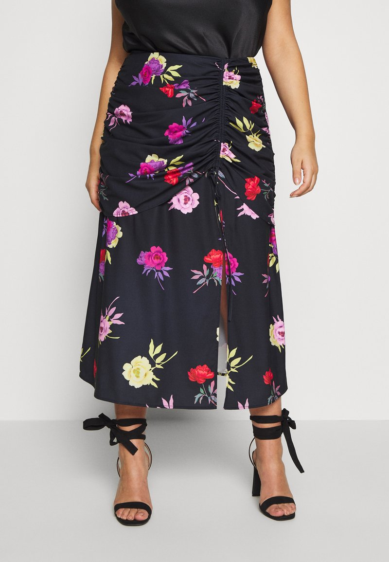 Lost Ink Plus - RUCHED DETAIL PRINTED MIDI SKIRT - A-linjainen hame - multi