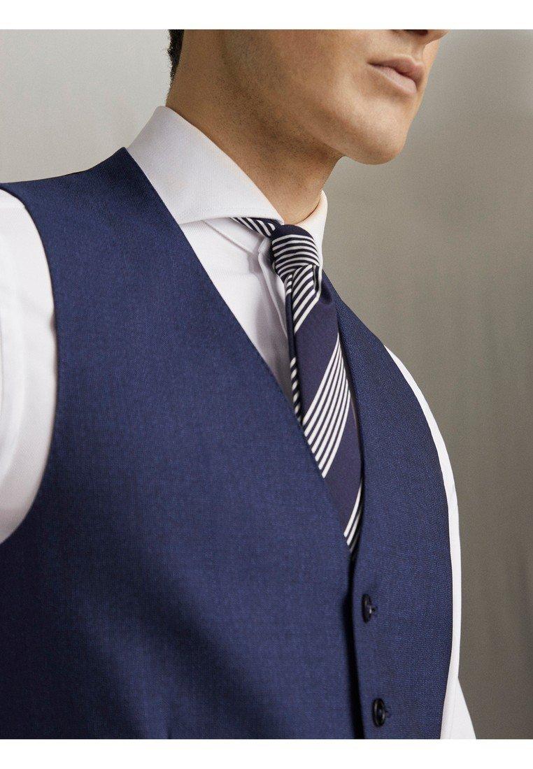 "Massimo Dutti GERADE GESCHNITTENE WESTE AUS WOLLE ""SUPER 120"" MIT STRUKTURMUST - Gilet de costume - blue"