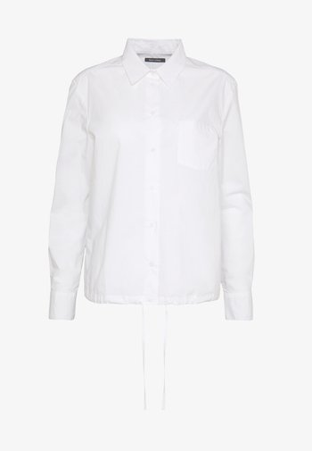 BLOUSE LONG SLEEVEED TIE DETAIL AT HEM POCKET - Button-down blouse - white