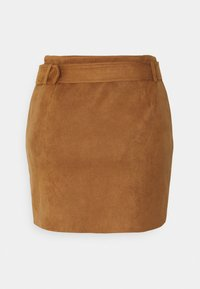 Missguided Petite - BELTED SUEDE MINI SKIRT - Mini skirt - tan - 1