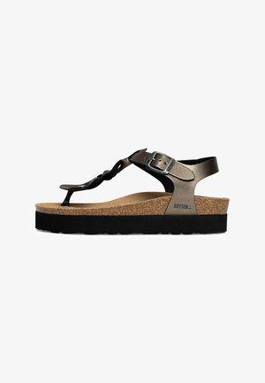 BADAJOZ - T-bar sandals - brown