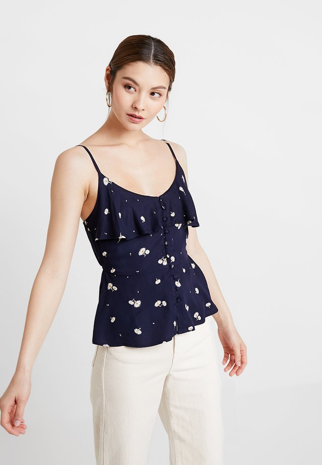 Top - dark blue/white