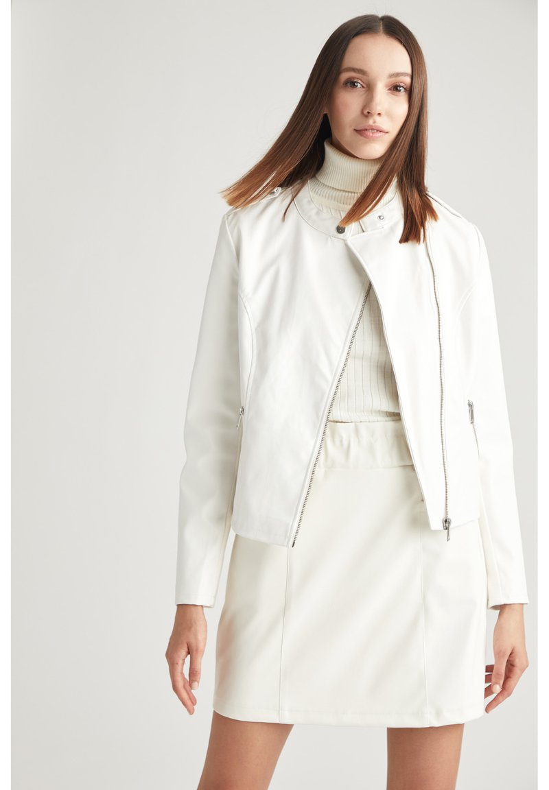 DeFacto - Faux leather jacket - white
