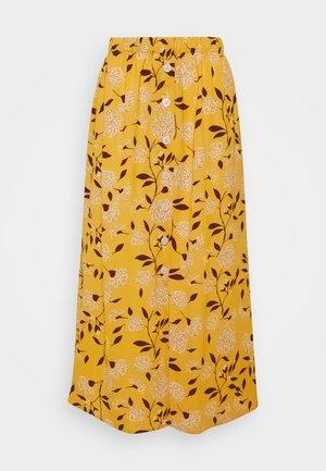 ONLNOVA LUX BUTTON SKIRT - A-line skirt - golden yellow/white