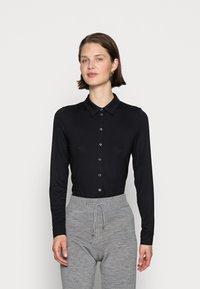 Marc O'Polo - BLOUSE LONG SLEEVE COLLAR BUTTON PLACKET - Button-down blouse - black - 0
