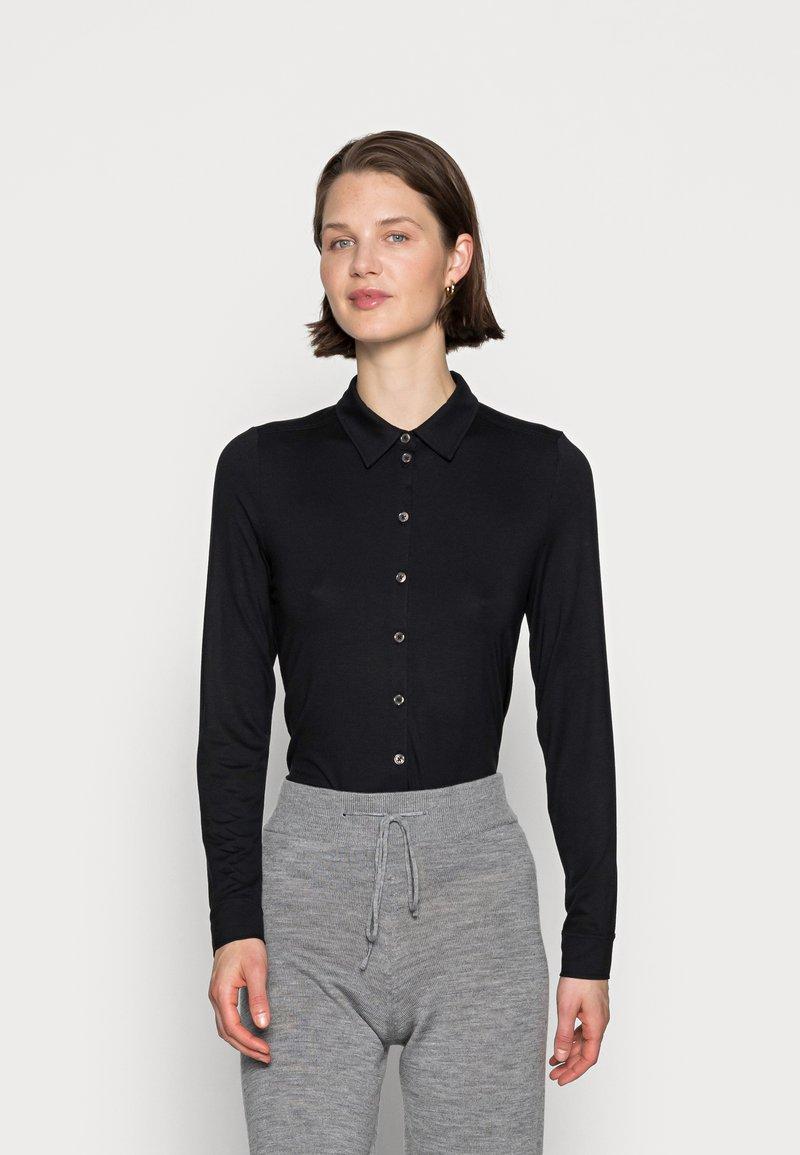 Marc O'Polo - BLOUSE LONG SLEEVE COLLAR BUTTON PLACKET - Button-down blouse - black