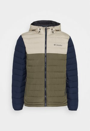 POWDER LITE HOODED JACKET - Talvitakki - stone green/fossil/collegiate navy
