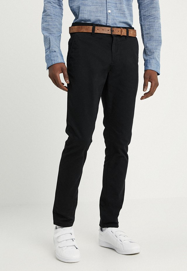 SLIM CHINO WITH BELT - Chino - black