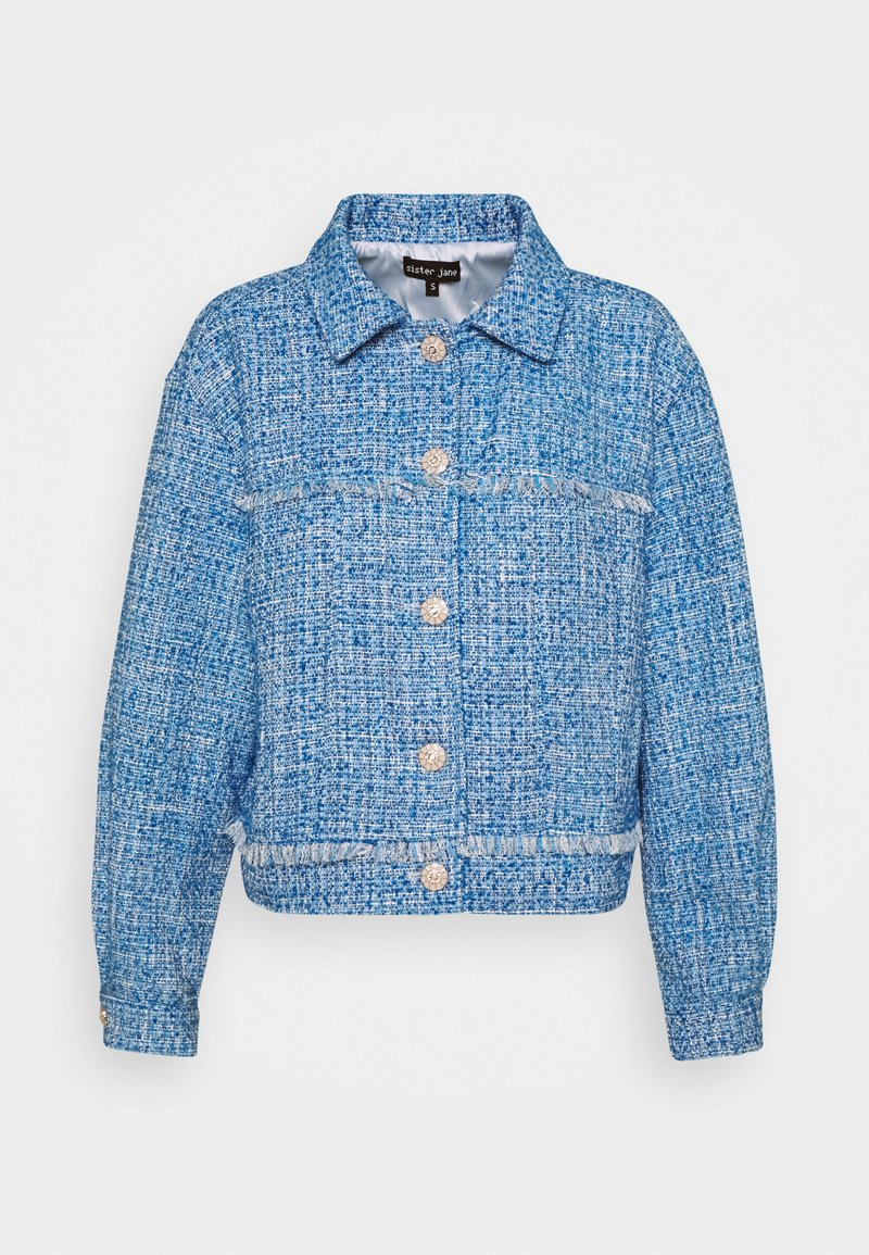 Sister Jane - BUBBLEGUM TWEED FRAYED JACKET - Summer jacket - blue