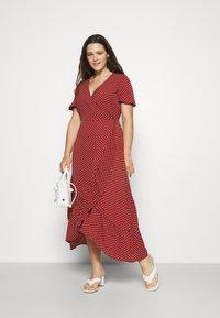 Vero Moda Curve - VMSAGA WRAP ANKLE DRESS - Maxi šaty - chili oil - 1