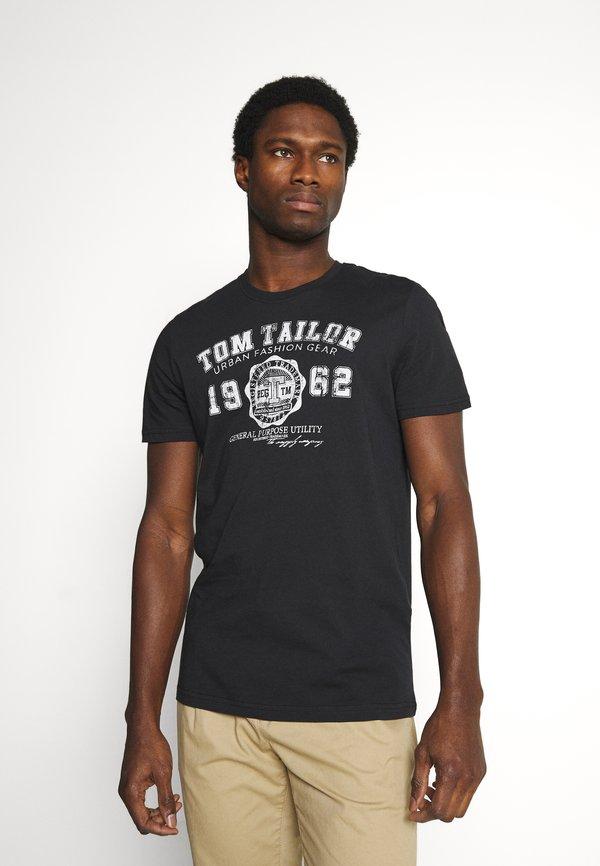 TOM TAILOR LOGO TEE - T-shirt z nadrukiem - almost black/czarny Odzież Męska KAXB