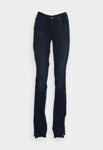 LIFE MID FLARED SLIT - Slim fit jeans - blue black denim