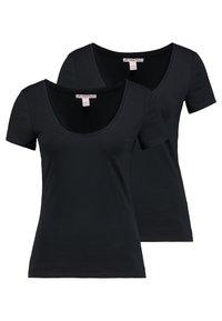 Anna Field - 2 PACK - T-shirt - bas - black - 0