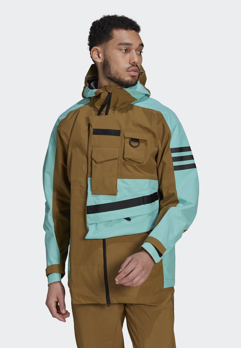 adidas Performance - XPLORIC RAIN JACKET - Hardshell jacket - wild moss/acid mint