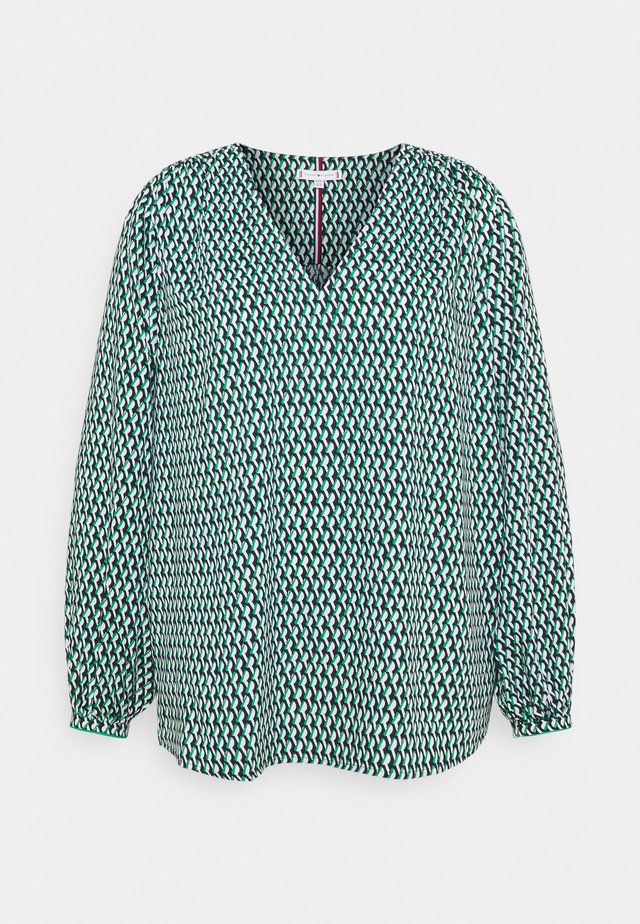 POPLIN BLOUSE - Camicetta - court side geo/primary green
