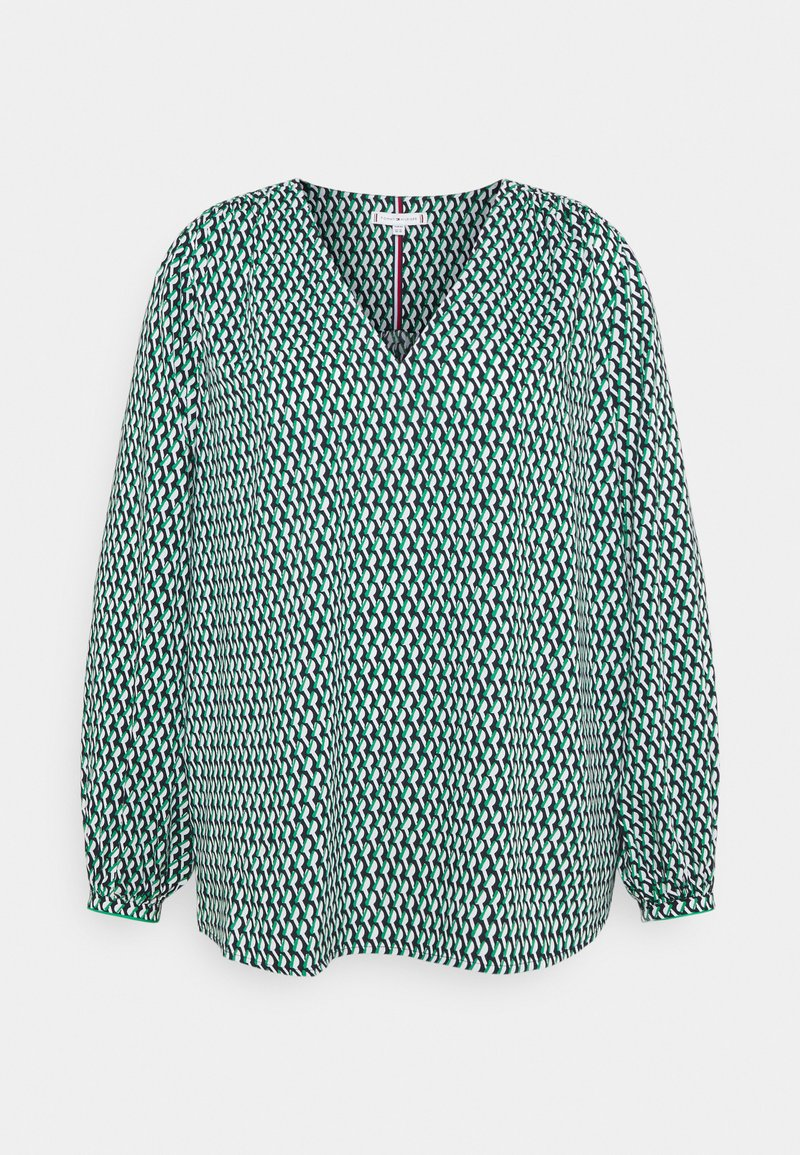 Tommy Hilfiger Curve - POPLIN BLOUSE - Blouse - court side geo/primary green
