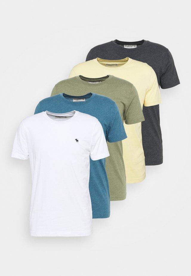 NEUTRAL CREW MULTI 5 PACK - T-shirt basique - white/yellow/green/blue/black