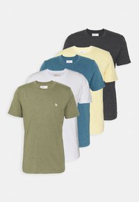 Abercrombie & Fitch - NEUTRAL CREW MULTI 5 PACK - T-shirt basic - white/yellow/green/blue/black - 7