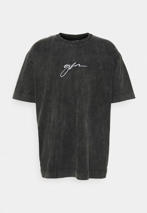 OVERSIZED ACID WASH SCRIPT - Print T-shirt - grey