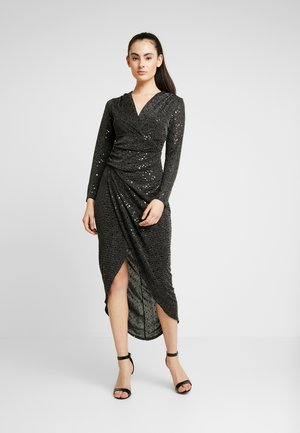 STAR GLITTER WRAP DRESS - Juhlamekko - black