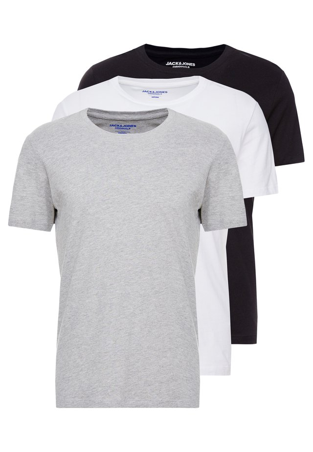 JORBASIC TEE CREW NECK 3 PACK - T-paita - white/black/grey