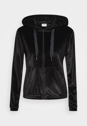 JDYVELVET ZIP HOOD - Zip-up hoodie - black