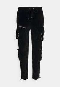 The Couture Club - RUCHED CUFFED PANT WITH 3D ZIP DETAIL POCKETS - Reisitaskuhousut - black - 0