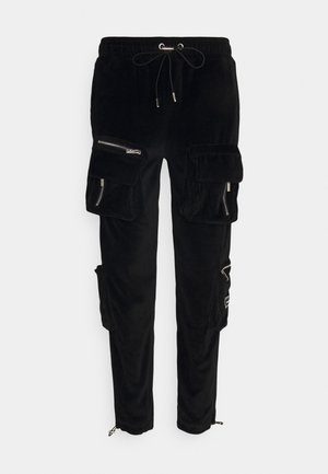 RUCHED CUFFED PANT WITH 3D ZIP DETAIL POCKETS - Cargobroek - black