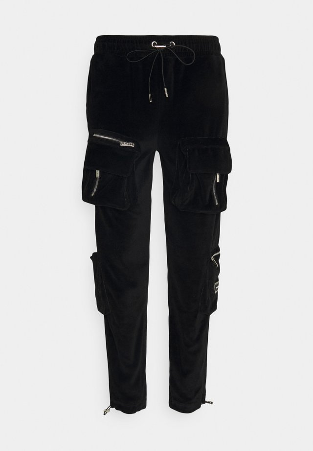 RUCHED CUFFED PANT WITH 3D ZIP DETAIL POCKETS - Cargo trousers - black