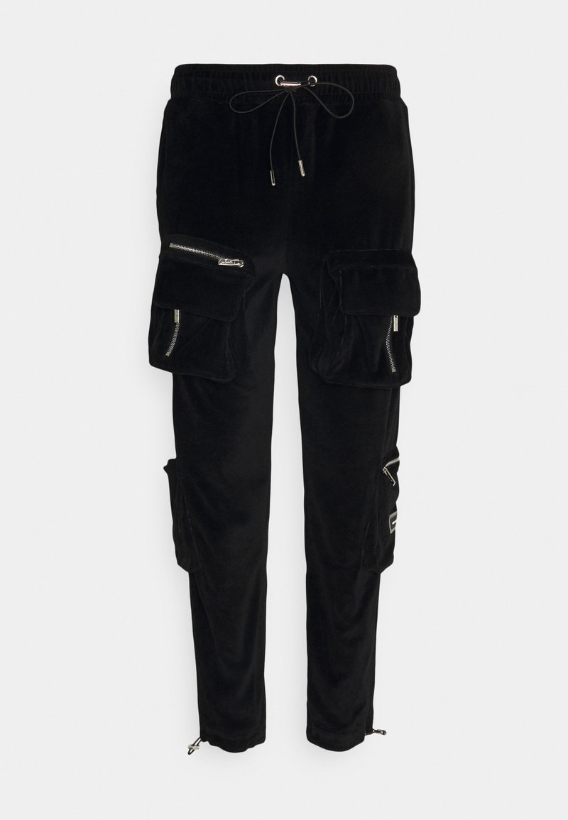 The Couture Club - RUCHED CUFFED PANT WITH 3D ZIP DETAIL POCKETS - Reisitaskuhousut - black