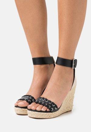 ONLAMELIA WRAP EYELET - Platform sandals - black