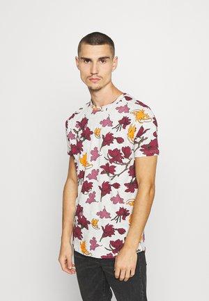 Print T-shirt - light grey marl/red/navy