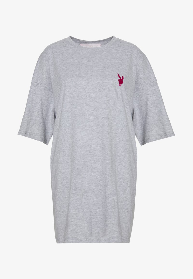 Missguided - PLAYBOY MISSION STATEMENT OVERSIZED T SHIRT DRESS - Vestido ligero - grey