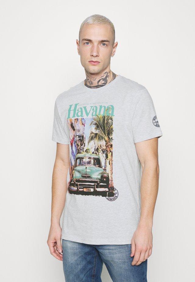 CAYOX - Print T-shirt - ecru marl