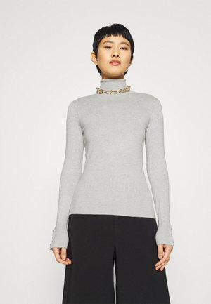 PEARL BUTTON CUFF ROLL NECK JUMPER - Jumper - grey marl