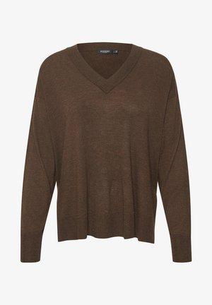 SLFANNIE LS - Sweter - rum raisin melange