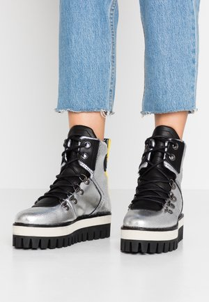 GESINA - Platform ankle boots - silver
