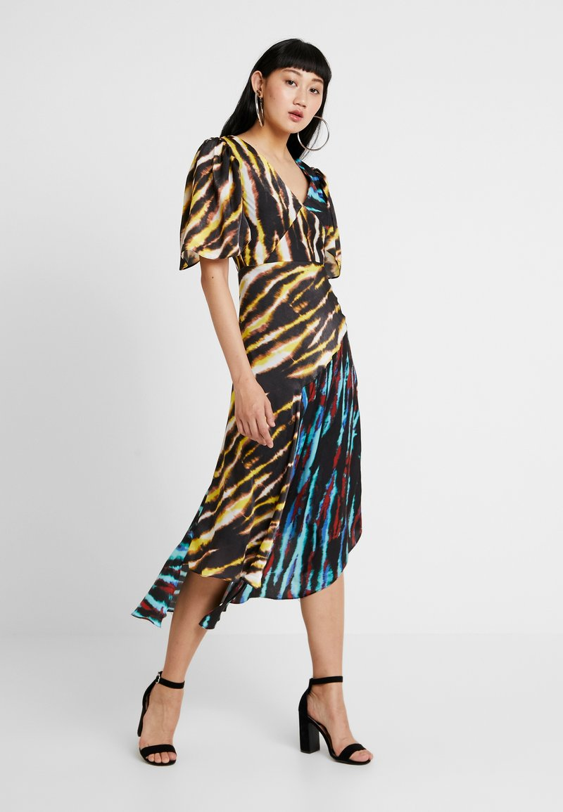 House of Holland - MIXED TIE DYE DRESS - Maxi dress - black and yellow multi
