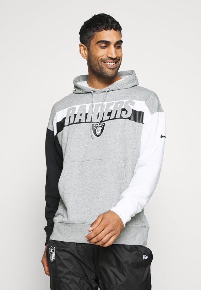 NFL OAKLAND RAIDERS WORDMARK LONG SLEEVE HERITAGE HOODIE - Club wear - dark grey heather/white/black