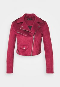 ONLY Petite - ONLSHERRY CROP BOND BIKER - Veste en similicuir - rhubarb - 4
