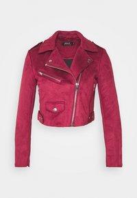 ONLSHERRY CROP BOND BIKER - Faux leather jacket - rhubarb