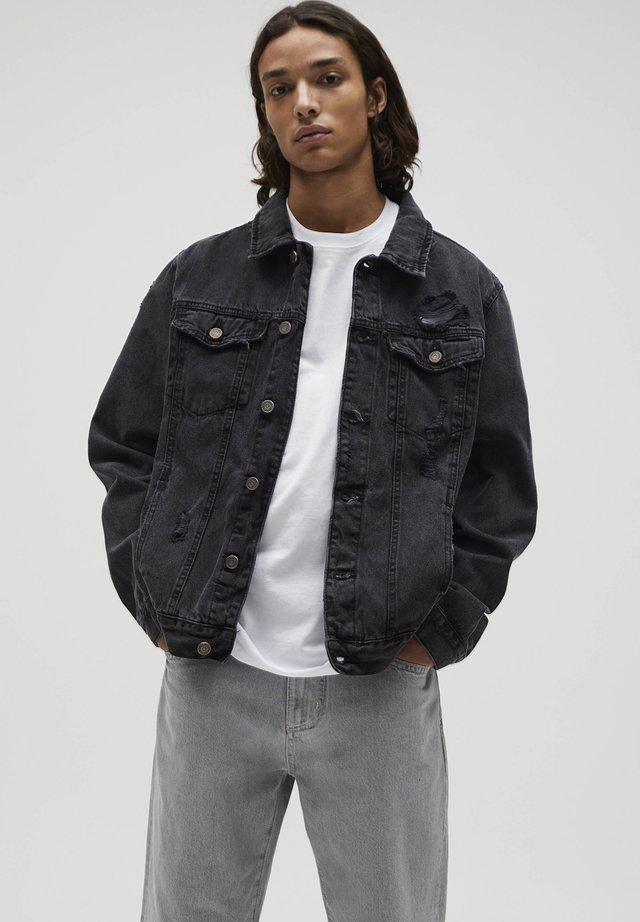 Džínová bunda - mottled dark grey
