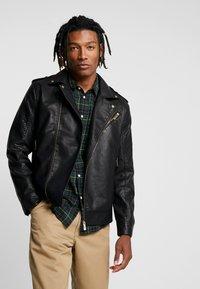 Only & Sons - ONSROVER BIKER - Faux leather jacket - black - 0