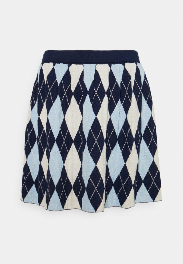 YANNI - A-line skjørt - blue/off-white