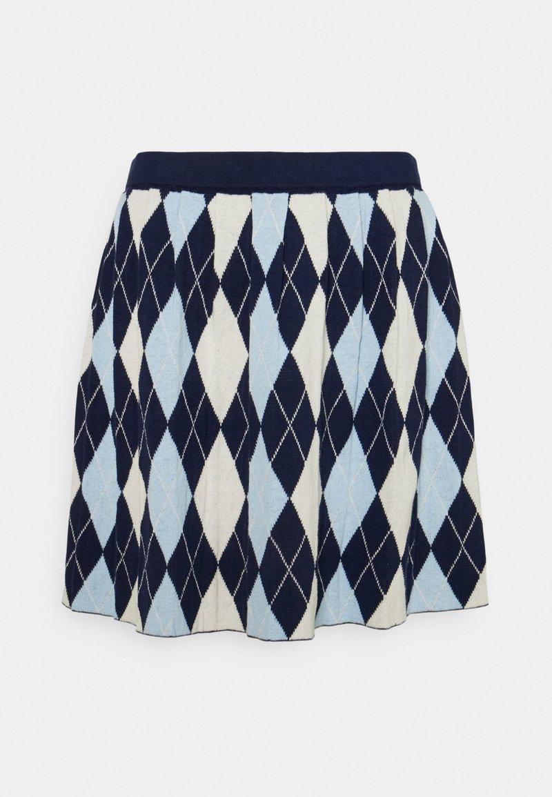 Monki - YANNI - A-linjainen hame - blue/off-white