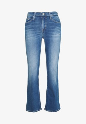 MID RISE CROP FLARE - Flared Jeans - mid blue