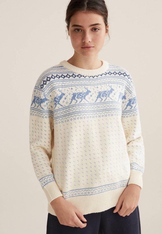 JACQUARD REINDEER CHRISTMAS - Sweter - white