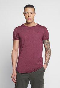 TOM TAILOR DENIM - LONG BASIC WITH LOGO - T-Shirt basic - deep burgundy melange - 0