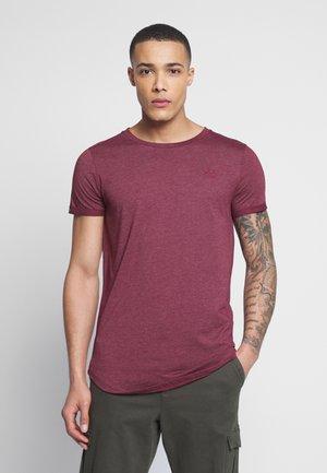 LONG BASIC WITH LOGO - Basic T-shirt - deep burgundy melange