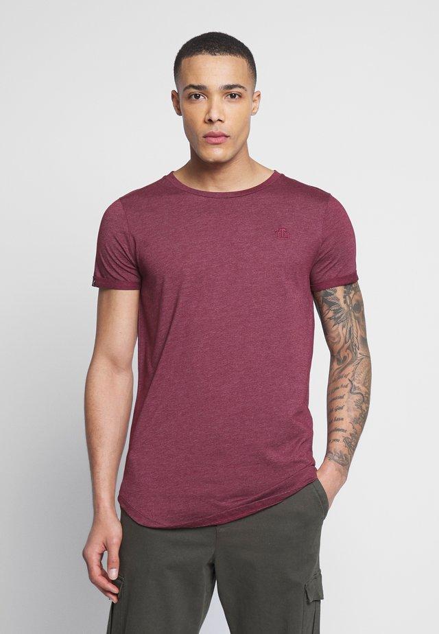 LONG BASIC WITH LOGO - T-shirts - deep burgundy melange